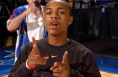 Hip Hop Artist Bow Wow shows his skills to the camera before the NBA Entertainment League Game at 2004 NBA AllStar Jam Session at Los Angeles...