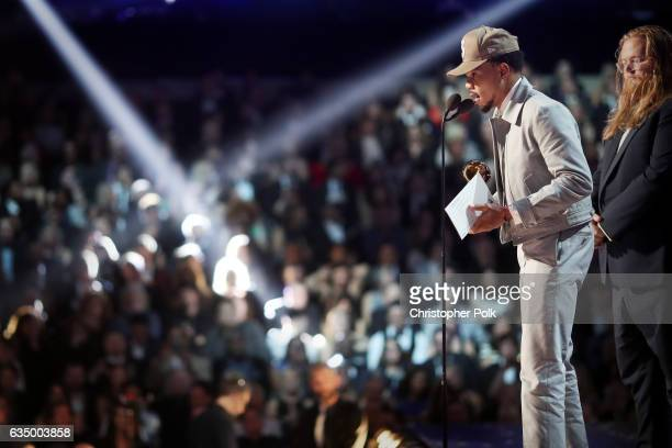 Hip Hop Artist Chance The Rapper during The 59th GRAMMY Awards at STAPLES Center on February 12 2017 in Los Angeles California