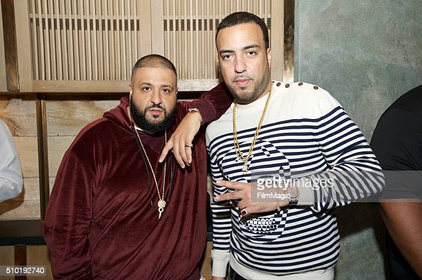 Hip Hop Artist DJ Khaled and Hip Hop Artist French Montana attend the LA Reid 'Sing To Me' PreGrammy Brunch at Hinoki The Bird on February 13 2016 in...