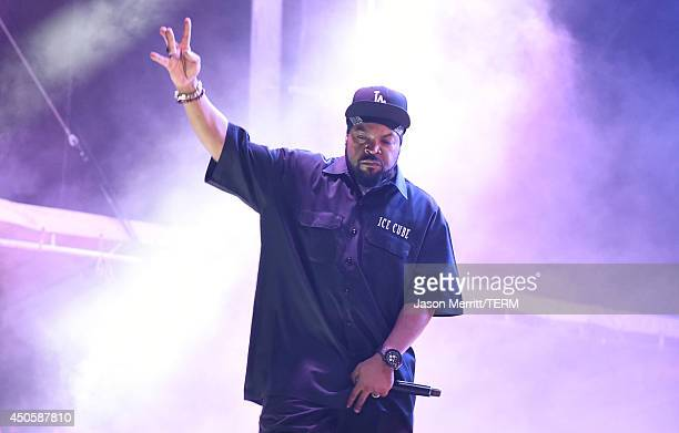 Hip hop artist Ice Cube performs at the Bonnaroo Music Arts Festival on June 13 2014 in Manchester Tennessee