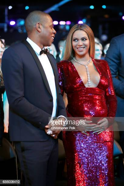 Hip Hop Artist JayZ and singer Beyonce during The 59th GRAMMY Awards at STAPLES Center on February 12 2017 in Los Angeles California
