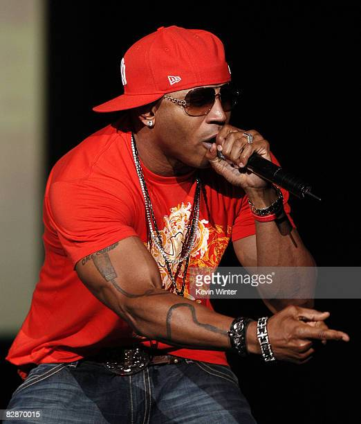 Hip hop artist LL Cool J performs onstage during Janet Jackson's 'Rock Witchu' tour at the Staples Center on September 17 2008 in Los Angeles...