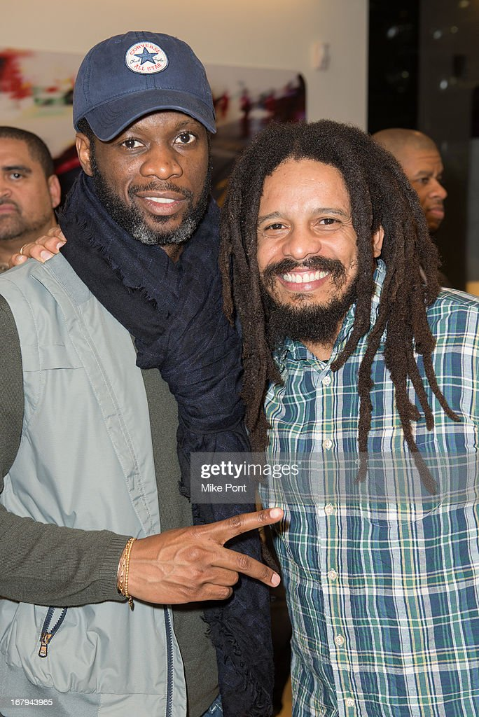Hip Hop Artist <a gi-track='captionPersonalityLinkClicked' href=/galleries/search?phrase=Pras&family=editorial&specificpeople=960690 ng-click='$event.stopPropagation()'>Pras</a> and <a gi-track='captionPersonalityLinkClicked' href=/galleries/search?phrase=Rohan+Marley&family=editorial&specificpeople=1138145 ng-click='$event.stopPropagation()'>Rohan Marley</a> attend Fabrizio Sotti's 'Right Now' Album Listening Party at the Ferrari Corporate Showroom Of New York on May 2, 2013 in New York City.