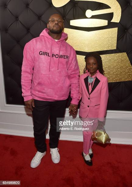Hip Hop Artist Schoolboy Q and daughter Joy Hanley attend The 59th GRAMMY Awards at STAPLES Center on February 12 2017 in Los Angeles California