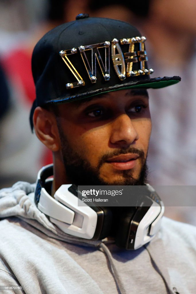 Hip hop artist Swizz Beatz attends the Foot Locker Three-Point Contest part of 2013 NBA All-Star Weekend at the Toyota Center on February 16, 2013 in Houston, Texas.