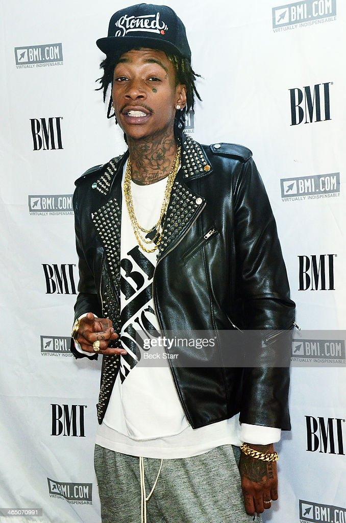 Hip hop artist <a gi-track='captionPersonalityLinkClicked' href=/galleries/search?phrase=Wiz+Khalifa&family=editorial&specificpeople=7183449 ng-click='$event.stopPropagation()'>Wiz Khalifa</a> attends BMI Presents Annual 'How I Wrote That Song' Pre-Grammy Event at House of Blues Sunset Strip on January 25, 2014 in West Hollywood, California.