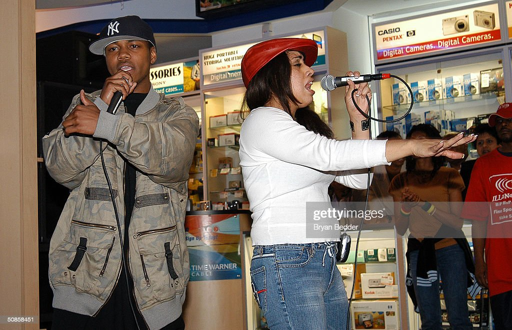 Hip hop artists Gage and J.C. perform at the ISkin and DataVision launch event May 19, 2004 in New York City.