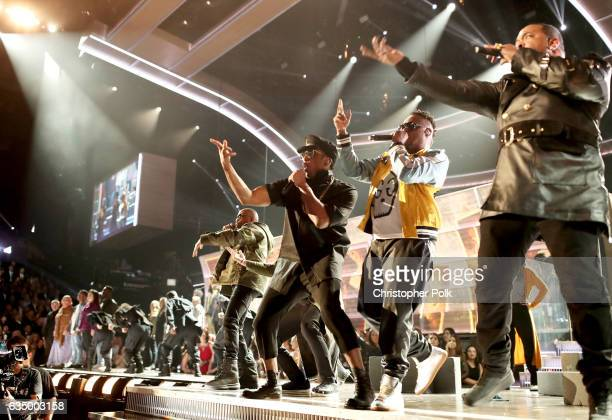 Hip Hop Artists QTip and Busta Rhymes of A Tribe Called Quest and Bust Rhymes during The 59th GRAMMY Awards at STAPLES Center on February 12 2017 in...