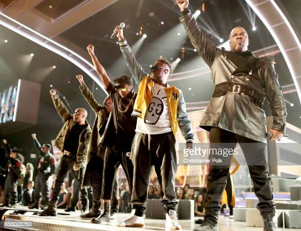 Hip Hop Artists QTip and Busta Rhymes of A Tribe Called Quest and Busta Rhymes during The 59th GRAMMY Awards at STAPLES Center on February 12 2017 in...
