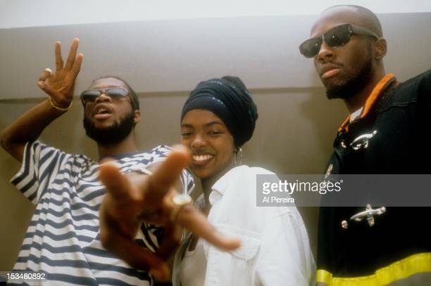 Hip hop group the Fugees pose for a portrait backstage at the Manhattan Center in 1993 in New York City New York