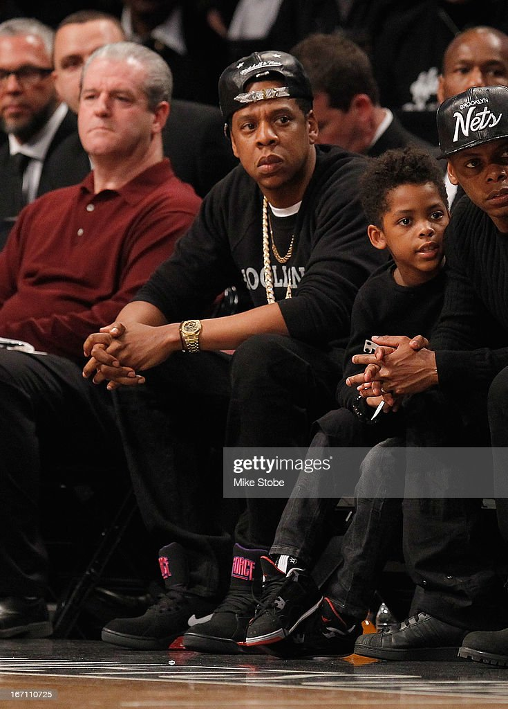 Hip Hop Mogul Jay-Z looks on during the game between the Brooklyn Nets and the Chicago Bulls during Game One of the Eastern Conference Quarterfinals of the 2013 NBA Playoffs at Barclays Center on April 20, 2013 in New York City.