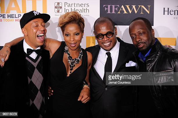 Hip Hop Mogul Russell Simmons singer Mary J Blige Andre Harrell and musician Wyclef Jean attend the Hope Help Relief Haiti 'A Night Of Humanity' at...