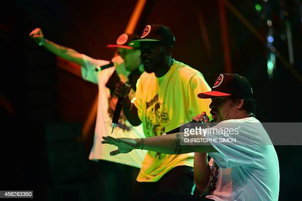 Hip Hop Music band Z'Africa performs on the stage of the BrazilianFrench 'Planeta Ginga' film and music free festival at the Cidade de Deus...