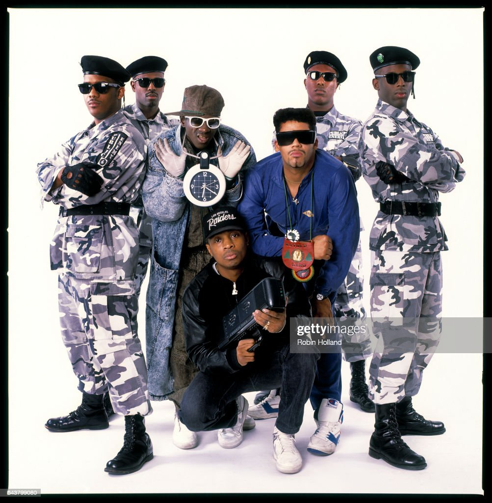 Hip hop musicians Public Enemy photographed for Village Voice on February 7, 1989, in New York City.