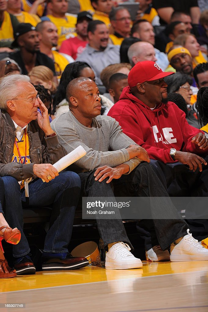 Hip Hop producer Dr. Dre attends a game between the Dallas Mavericks and the Los Angeles Lakers at Staples Center on April 2, 2013 in Los Angeles, California.