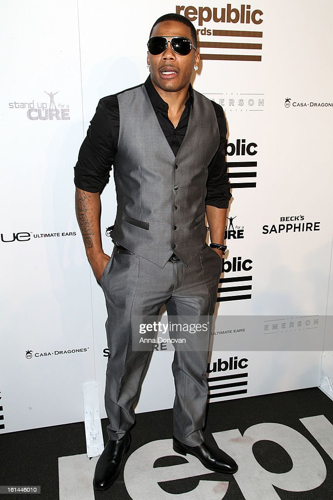 Hip hop recording artist <a gi-track='captionPersonalityLinkClicked' href=/galleries/search?phrase=Nelly+-+Rapper&family=editorial&specificpeople=11499081 ng-click='$event.stopPropagation()'>Nelly</a> attends to the Republic Records post GRAMMY party at the Emerson Theatre on February 10, 2013 in Hollywood, California.