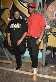 Hip hop recording artist YG and record producer DJ Khaled pose for portrait at YG's Art Installation for 'Still Brazy' at Known Gallery on June 16...
