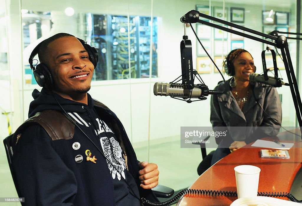 Hip hop recording artist/actor <a gi-track='captionPersonalityLinkClicked' href=/galleries/search?phrase=T.I.&family=editorial&specificpeople=221599 ng-click='$event.stopPropagation()'>T.I.</a> (L) visits 'The Heat' at SiriusXM Studios on December 17, 2012 in New York City.