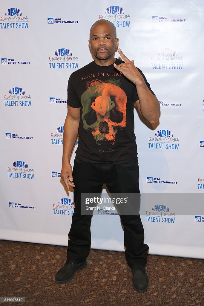 Hip Hop recording artist/talent show creative director Darryl 'DMC' McDaniels attends the 10th annual Garden of Dreams talent show rehearsals held at...