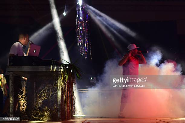 Hip Hop singer Mathias Cassel from Assassin French band performs on the stage of the BrazilianFrench 'Planeta Ginga' film and music free festival at...