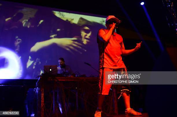 Hip Hop singer Mathias Cassel from 'Assassin' performs on the stage of the BrazilianFrench 'Planeta Ginga' film and music free festival at the Cidade...