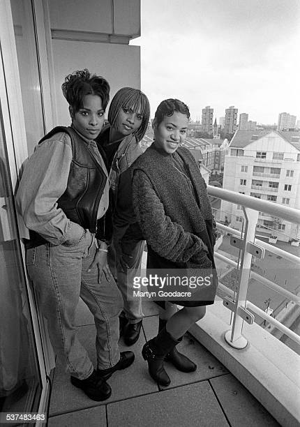 US hip hop trio Salt N Pepa group portrait with DJ Spinderella London United Kingdom 1990 Deidra Roper Sandra Denton and Cheryl James