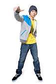 Hip man using hand gestures
