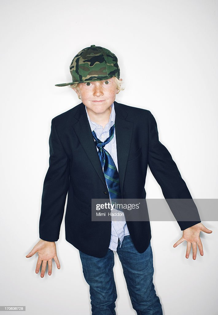 Hip Nine Year Old Boy Showing Attitude : Stock Photo