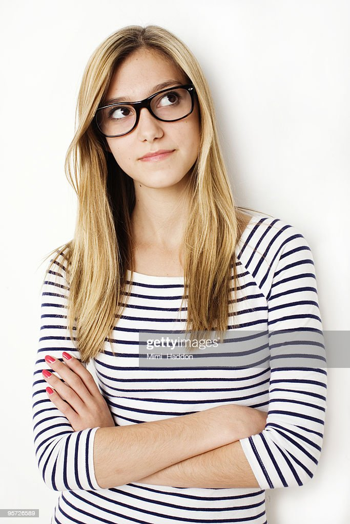 Hip Teenage Girl with Glasses : Stock Photo