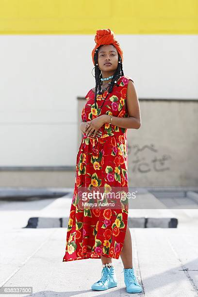 Hip, young African American model wearing summer dress