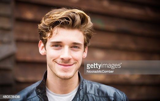 Hip young handsome British student Autumn portrait horizontal : Stock Photo
