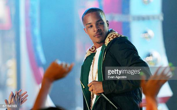 Hiphop artist and actor TI performs on MTV's Total Request Live at MTV Studios Times Square March 27 2006 in New York City
