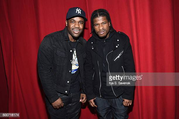 Hiphop artist ASAP Ferg and Marty Baller attend the adidas Originals NMD global unveiling at the 69th Regiment Armory on December 9 2015 in New York...