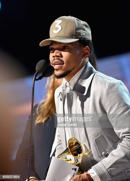 Hiphop artist Chance the Rapper accepts the award for Best New Artist onstage during The 59th GRAMMY Awards at STAPLES Center on February 12 2017 in...