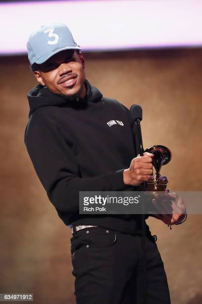 Hiphop artist Chance the Rapper accepts the Best Rap Performance award for 'No Problem' onstage at the Premiere Ceremony during the 59th GRAMMY...