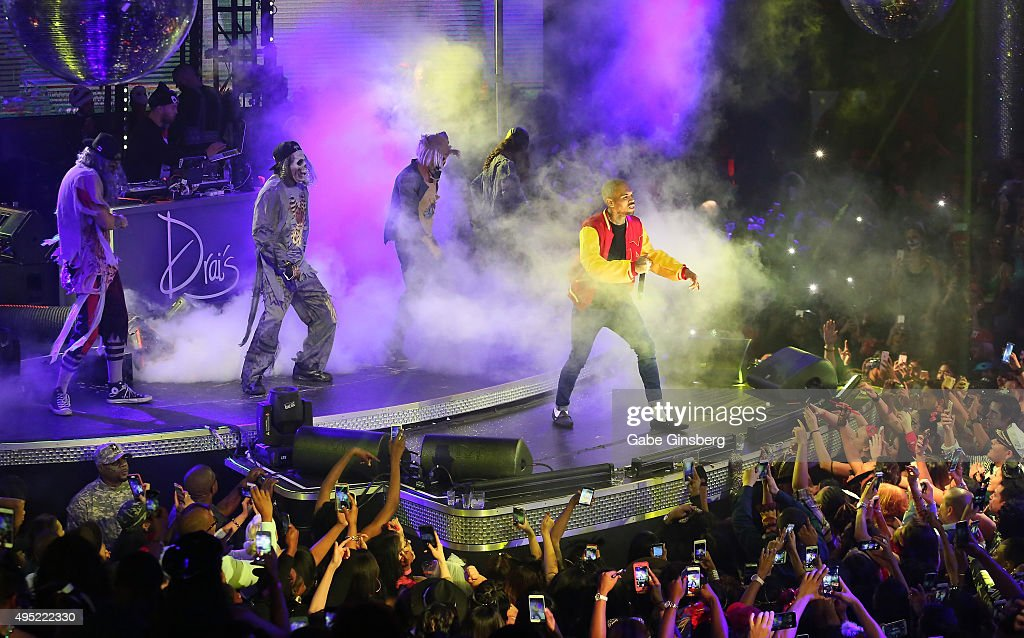 Hip-hop artist Chris Brown performs at THRILLER presented by legendary music producer Quincy Jones and Drai's LIVE at Drai's Nightclub at The Cromwell on October 31, 2015 in Las Vegas, Nevada.
