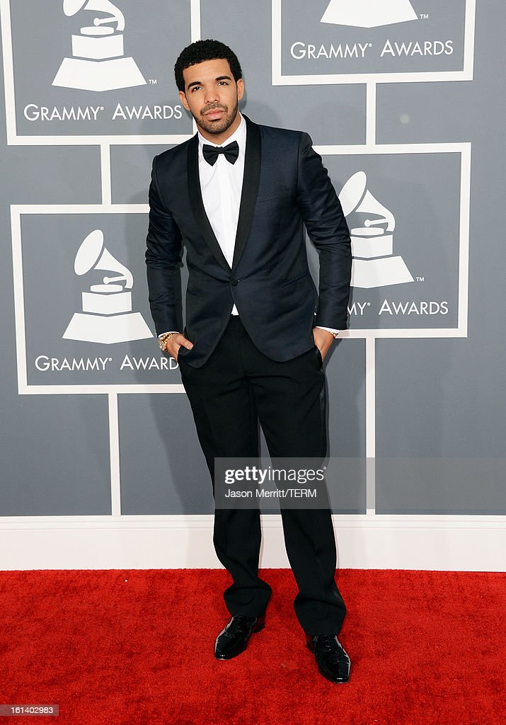 Hiphop artist Drake arrives at the 55th Annual GRAMMY Awards at Staples Center on February 10 2013 in Los Angeles California
