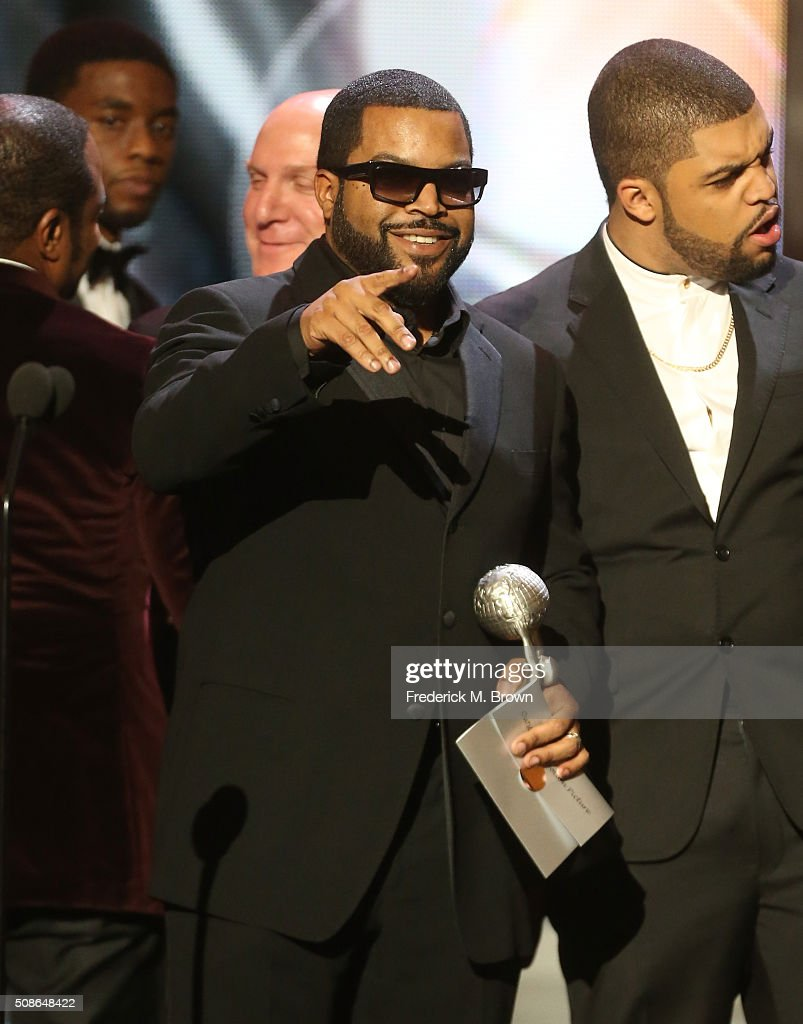 Hip-hop artist Ice Cube (L) and O'Shea Jackson Jr. accept award for Outstanding Motion Picture for 'Straight Outta Compton' onstage during the 47th NAACP Image Awards presented by TV One at Pasadena Civic Auditorium on February 5, 2016 in Pasadena, California.