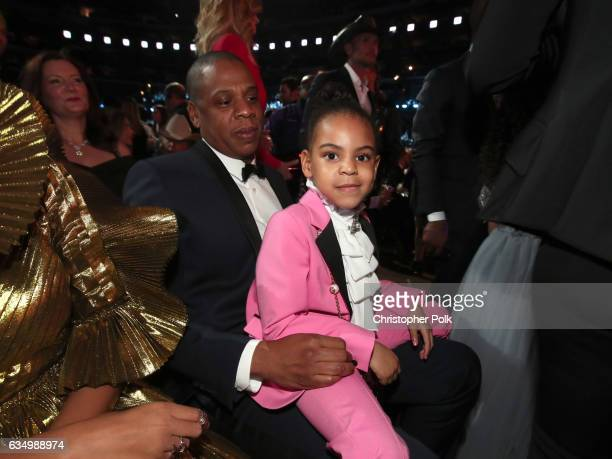HipHop Artist JayZ and daughter Blue Ivy Carter during The 59th GRAMMY Awards at STAPLES Center on February 12 2017 in Los Angeles California