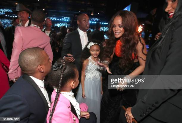HipHop Artist JayZ daughter Blue Ivy Carter and singer Rihanna during The 59th GRAMMY Awards at STAPLES Center on February 12 2017 in Los Angeles...