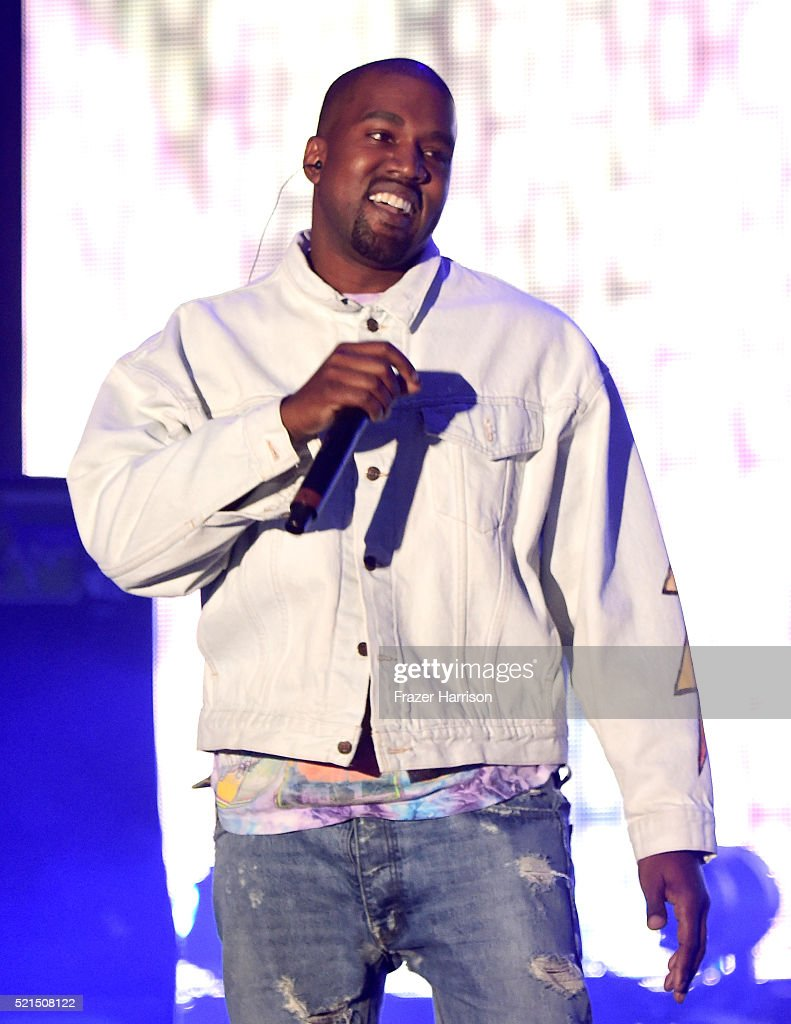 Hiphop artist Kanye West performs onstage with rapper A$AP Rocky during day 1 of the 2016 Coachella Valley Music Arts Festival Weekend 1 at the...