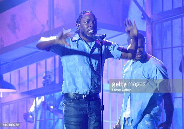 Hiphop artist Kendrick Lamar performs onstage during The 58th GRAMMY Awards at Staples Center on February 15 2016 in Los Angeles California