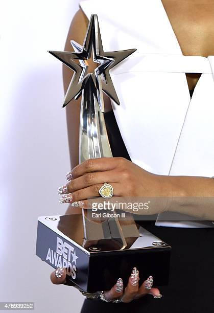 Hiphop artist Nicki Minaj engagement ring detail winner of Best Female Hip Hop Artist and the Coca Cola Viewers' Choice Awards poses in the press...