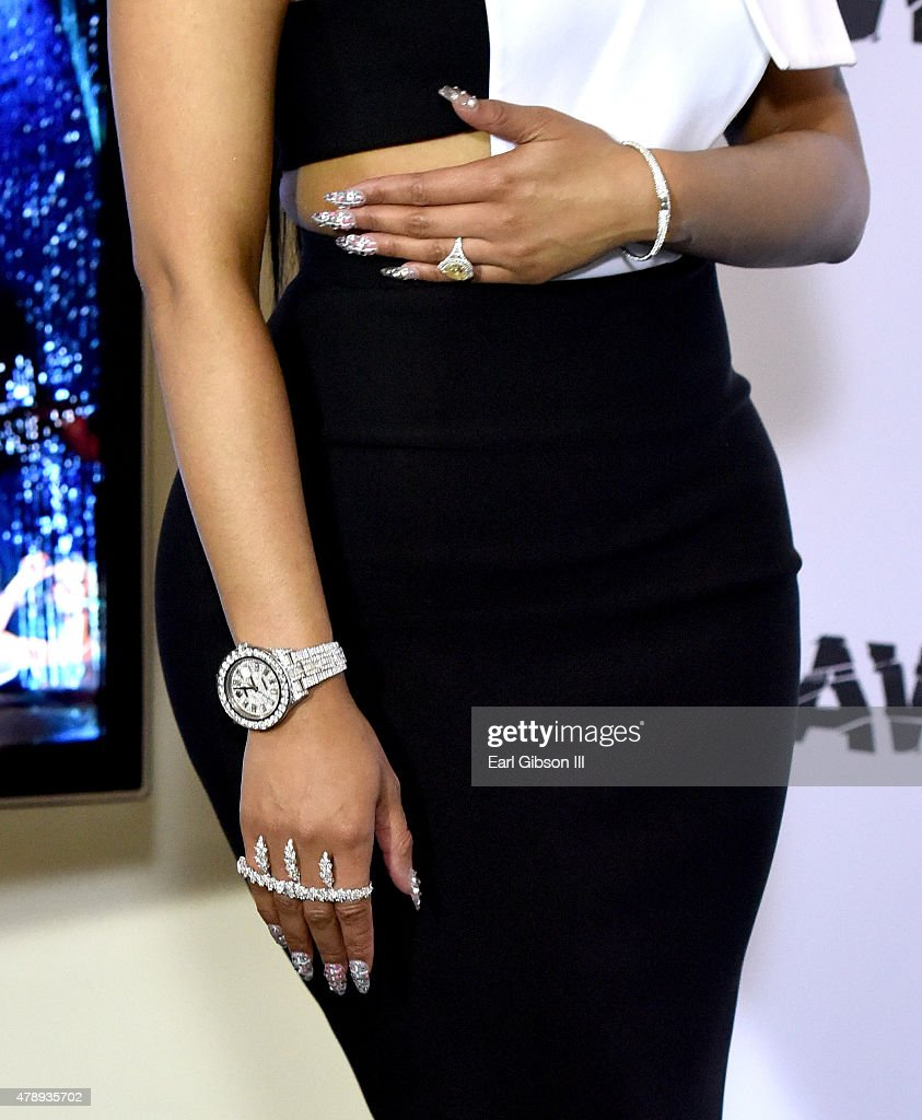 Hip-hop artist Nicki Minaj, jewelry detail, poses in the press room during the 2015 BET Awards at the Microsoft Theater on June 28, 2015 in Los Angeles, California.