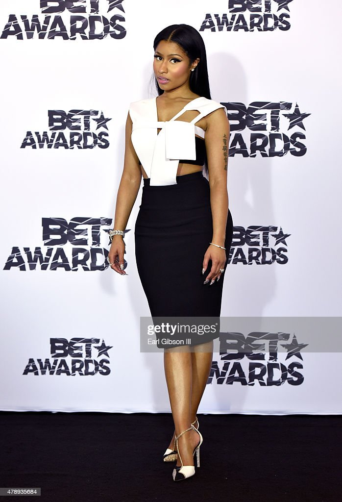 Hiphop artist Nicki Minaj poses with awards in the press room during the 2015 BET Awards at the Microsoft Theater on June 28 2015 in Los Angeles...