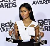 Hiphop artist Nicki Minaj winner of Best Female Hip Hop Artist and the Coca Cola Viewers' Choice Awards poses in the press room during the 2015 BET...