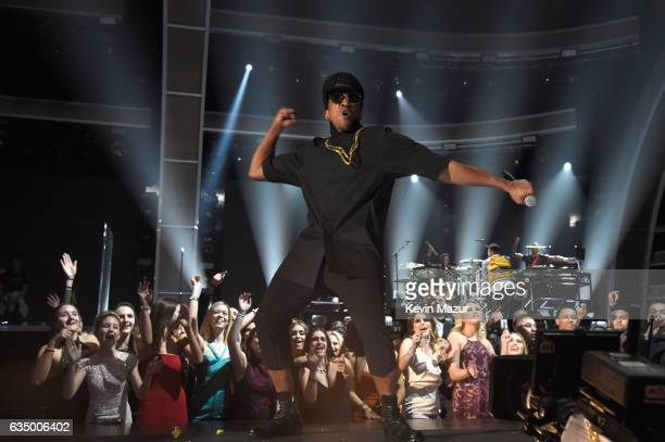 Hiphop artist QTip of A Tribe Called Quest performs onstage during The 59th GRAMMY Awards at STAPLES Center on February 12 2017 in Los Angeles...