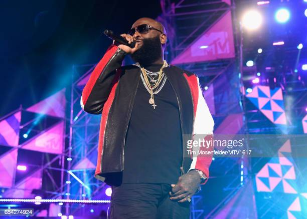 Hiphop artist Rick Ross performs onstage at MTV Woodies LIVE on March 16 2017 in Austin Texas