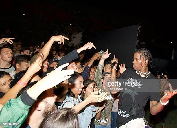 HipHop Artist Travis Scott introduces his latest video at the Travis Scott WAV Party at Kayne Griffin Corcoran Gallery on August 12 2016 in Los...