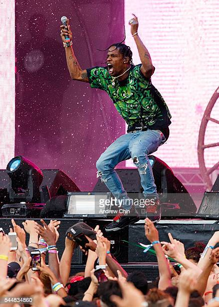 Hiphop artist Travis Scott performs onstage during day 2 of FVDED In The Park at Holland Park on July 3 2016 in Surrey Canada